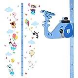 Medidor de altura de quita y pon para ni/ños Wopeite Gr/áfico de crecimiento Elefante 3D Pegatinas de pared movibles para escribir sobre ellas Vinilos para dormitorio infantil Material EVA
