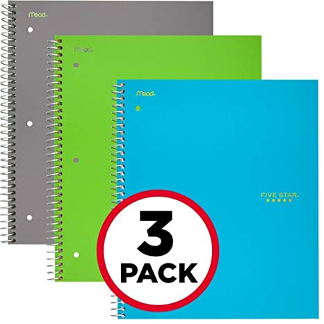 """Five Star Spiral Notebooks, 3 Subject, College Ruled Paper, 150 Sheets, 11"""" X 8 1/2"""", Gray, Lime, Teal, 3 Pack (73481) by Five Star"""