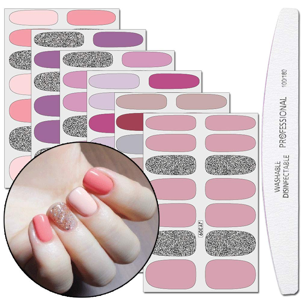 WOKOTO 6 Pieces Nail Polish Sticker Tips Glitter False Nail Design With 1Pc Nail File Solid Color Adhesive Nail Art Wrap Decal Manicure Strips Kit For Women by WOKOTO