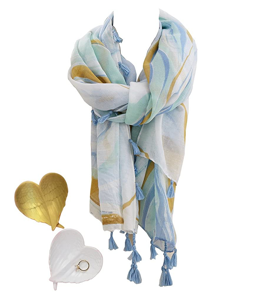 bluee Green Two's Company Angel Wing Trinket and Marble Scarf with Tassel