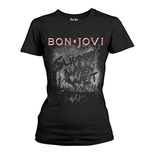 Tee Shack Ladies Jon Bon Jovi Slippery When Wet Rock Oficial Camiseta Mujeres Señoras