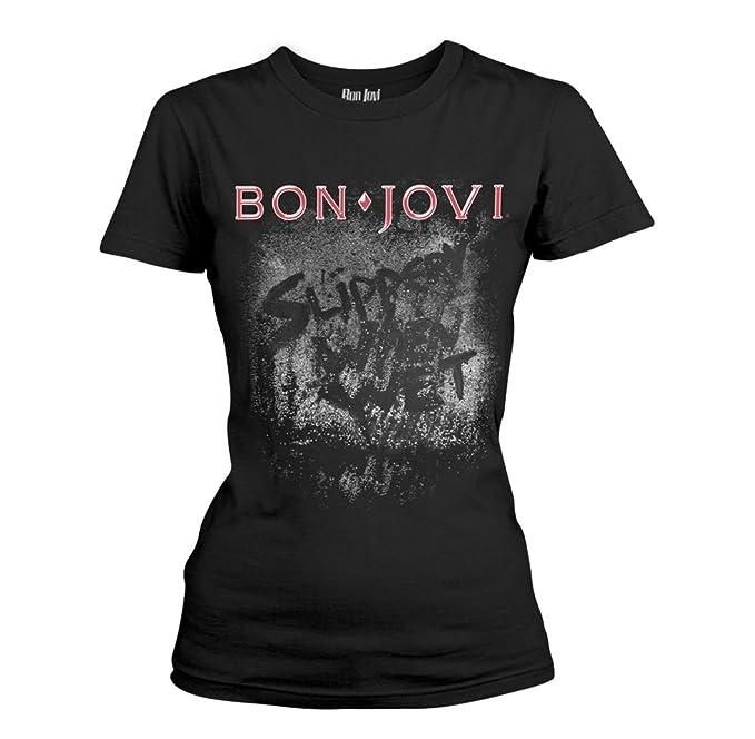 Tee Shack Ladies Jon Bon Jovi Slippery When Wet Rock Oficial Camiseta Mujeres Señoras: Amazon.es: Ropa y accesorios