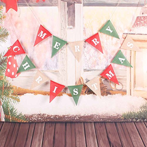 Christmas Decorations Banner, Merry Christmas Burlap Banner , Triangle Christmas Banner, Red/Green Burlap Christmas Banner Garlands for Christmas Home Decor Xmas Party Photo Props VAG034