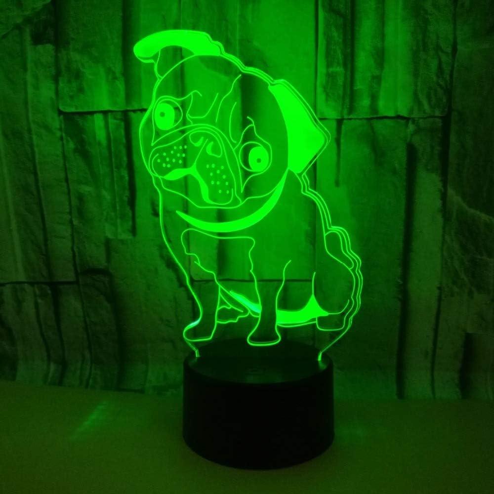 Lámpara de ilusión 3D con luz nocturna LED, diseño de carlino con cable USB, ideal como regalo para niños y niñas