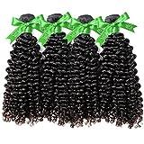 GoldRose Beauty Grade 6A Brazilian Virgin Curly Wave Human Hair Extensions Deep Curly Weave Weft 4Pcs/Lot 400Gram (16 16 16 16) Natural Black Color
