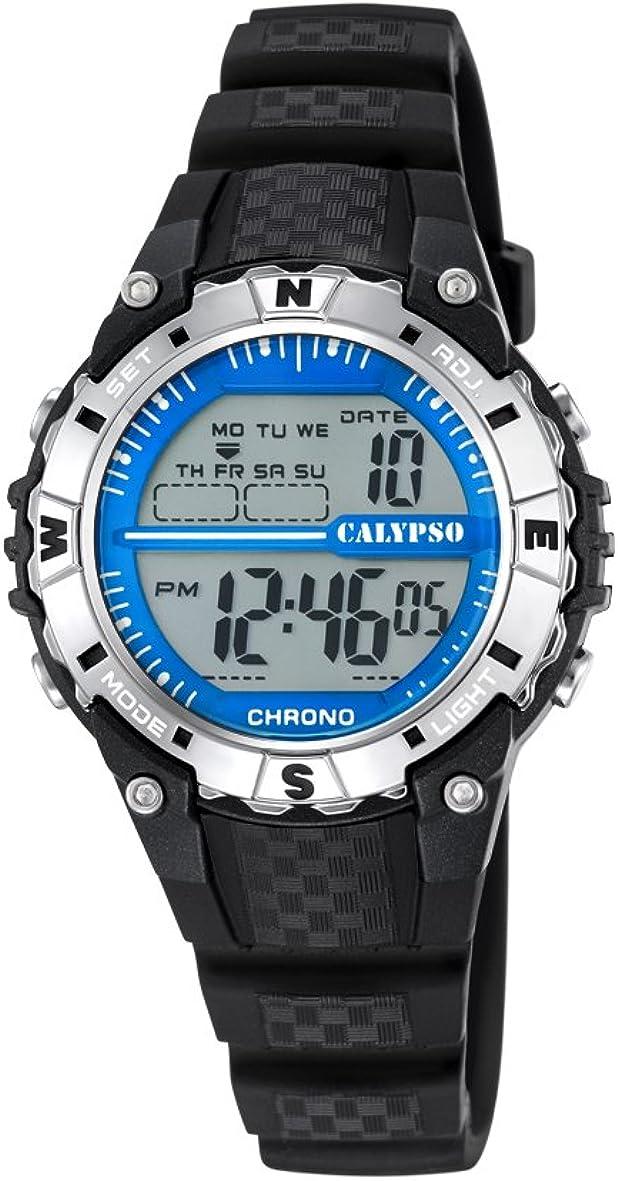 Calypso–Reloj Digital Unisex con LCD Pantalla Digital Dial y Correa de plástico en Color Negro K5684/1