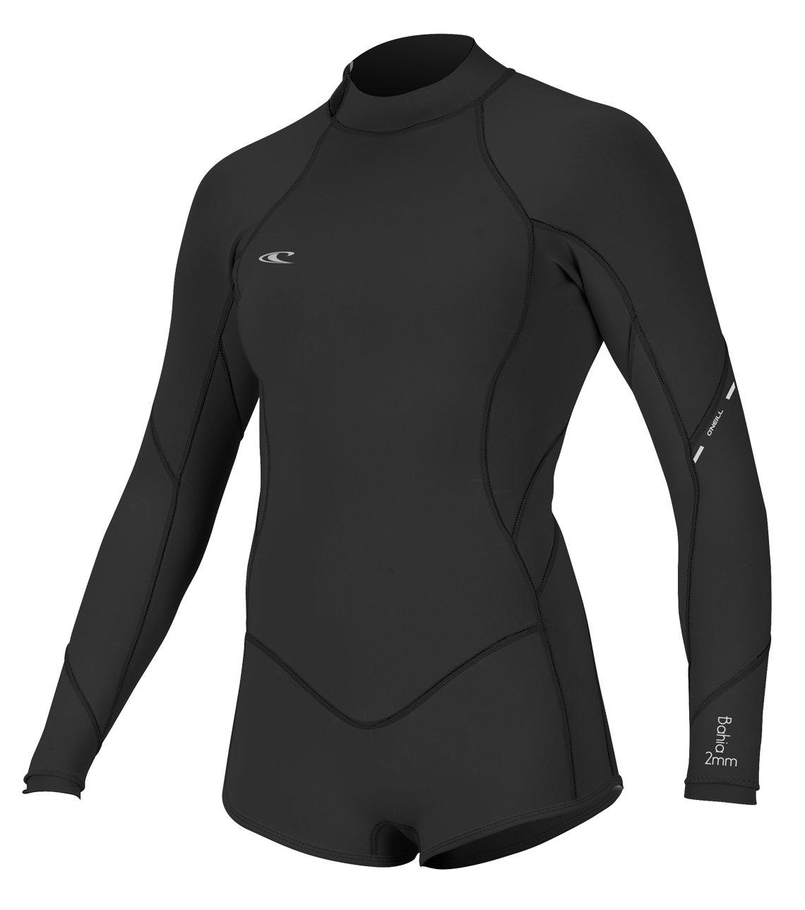 O'Neill Women's Bahia 2/1mm Back Zip Long Sleeve Short Spring Wetsuit, Black, 4