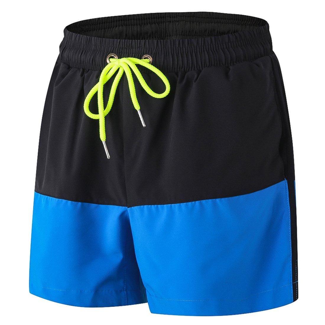 sevenwellメンズパフォーマンスショーツスーパーライト重量メッシュランニングショーツバスケットボール B07C89YT79 S=US XS|ブラック&ブルー ブラック&ブルー S=US XS