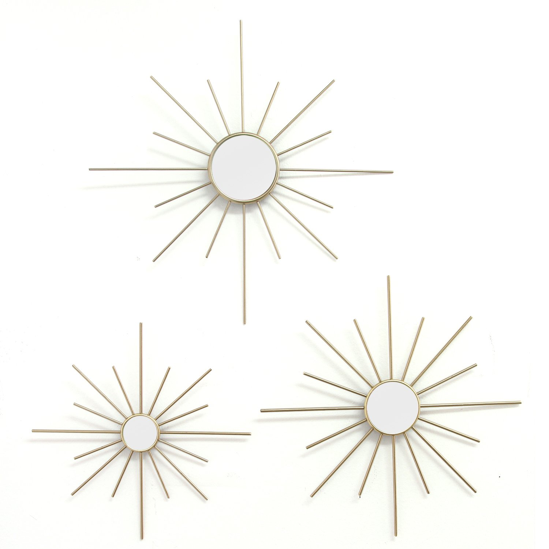 Stratton Home Decor Set of 3 Gold Mirror Burst Wall Decor, Small 10.00 W x 0.75 D x 10.00 H Med 12.00 W x 0.75 D x 12.00 H Large 14.00 W x 0.75 D x 14.00 H