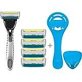 LetsShave Trimmer Pace 6 Plus Shaving Razor (Shaving Blades - 4 Pieces, Razor Handle with Free Razor Stand and Razor Cap)