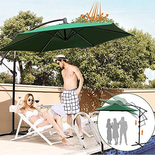 Outdoor Cantilever Shade Garden Umbrella - 9 ft Parasol Solar Sun Shade Garden Patio Banana Cantilever Hanging Umbrella for picnics, BBQ's, garden parties, beach, camping, or relaxing in the shade. (Garden Big Parasols)