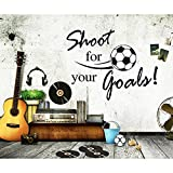 Olivia DIY Inspirational Lettering Saying Sports Quotes Words - Shoot for Your Goals - Soccer Wall Decals Vinyl Removable American Football Slogan Home Stickers Decor for Boys Room Decorations Black