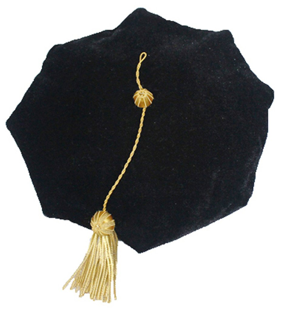 GraduationMall Graduation Doctoral Tam 8-Sided Black Velvet With Gold Bullion Tassel
