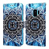 EnjoyCase Wallet Case for Galaxy S9,Colorful Mandala Flower Pattern Pu Leather Bookstyle Card Slots Magnetic Flip Cover With Hand Strap for Samsung Galaxy S9