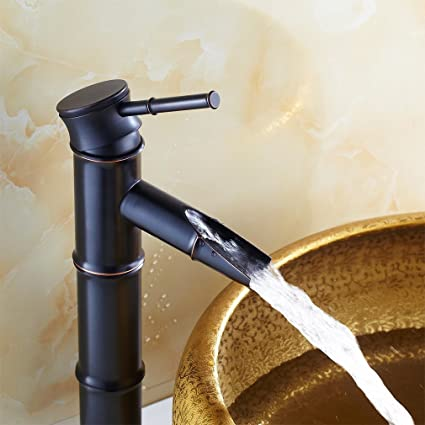 Auralum Waterfall Faucet Bathroom Basin Oil Rubbed Bronze Bamboo Faucet  Lavatory Hot/Cold Mixer Faucet