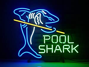 LDGJ Pool Shark Neon Light Sign Home Beer Bar Pub Recreation Room Game Lights Windows Glass Wall Signs Party Birthday Bedroom Bedside Table Decoration Gifts (Not LED)