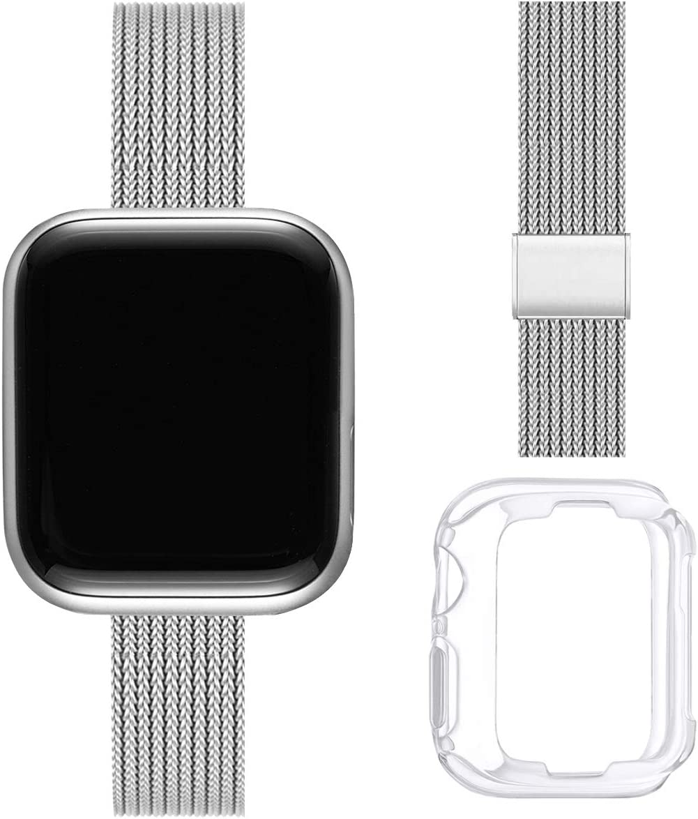 ZXCASD Slim Watch Band Compatible with Apple Watch Band 38mm 40mm 42mm 44mm for Women Girls, Stainless Steel Mesh Strap Replacement for iWatch SE iwatch Series 6/5/4/3/2/1 (Silver, 38mm 40mm)