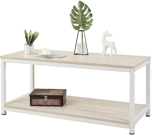 Dlandhome 100 40cm Table Basse De Canape Table De Cafe Meuble Tv Avec Etagere De Rangement Pour Salon Erable