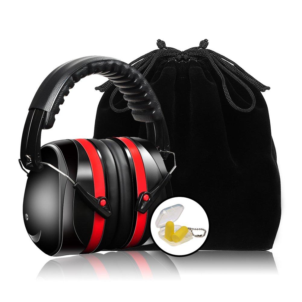 Casque Anti Bruit, Protection Auditive, NRR 35dB, Ré glable Repliable, Rouge Réglable Repliable RHGEELY