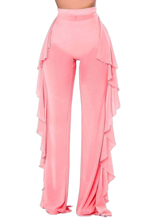 d6b30822aa Amazon.com: Pink Queen Women's Tie Front Mesh Beach Bikini Swimsuit Bottom  Cover Up Pants: Clothing