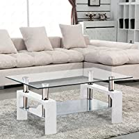 SUNCOO Rectangular Glass Coffee Table Shelf Chrome White Wood Living Room Furniture