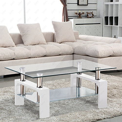 SUNCOO Coffee End Side Table with Shelves Living Room Furniture Rectangle Shape Clear Glass Top&Glossy White Finih Legs -
