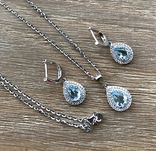 Bridal Jewelry Sets- Blue Quartz Earring Necklace- Double Halo Matching Pear Shape Jewelry Set- Wedding Jewelry Set for Her- Classic Set