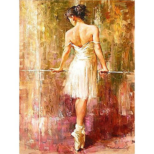 framed canvas ballet dancer paint by number kit abstract kits PBN Kit