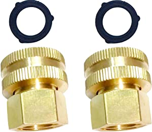 "HZFJ 2PCS Garden Hose Adapter Double Female Brass Swivel Thread Size 1/2"" NPT (F) to 3/4"" NH (F) Garden Pipe Joint Extension Repair Fitting"
