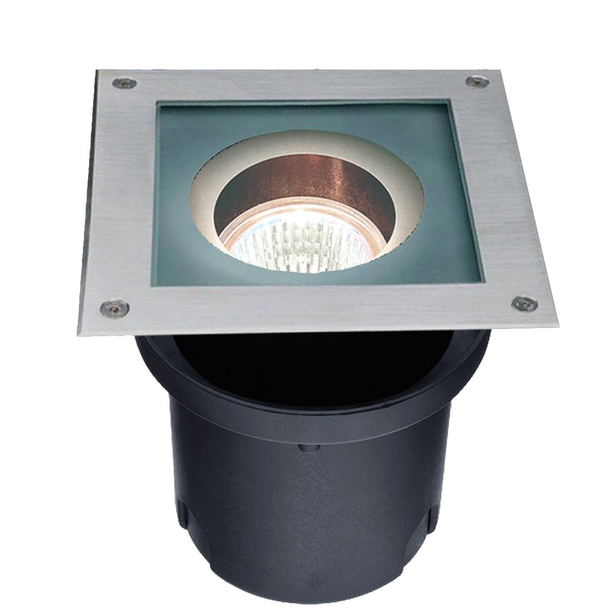 Eurofase IG-02-S5 In-Ground MR16 Square Uplight, Black/Stainless Steel