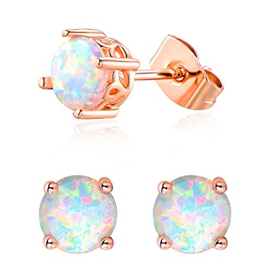 3ac519d4b Opal Stud Earrings for Women, Rose Gold Plated Round Shape 6mm Opal Earrings  Best Gift
