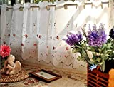 Rose Embroidery Window Tier White Weavy Cafe Curtai,60150cm For Sale