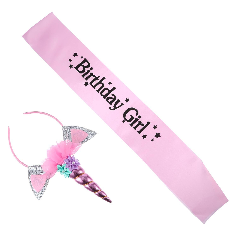 Hestya Diadema de Unicornio con Banda de Birthday Girl para Materiales de Fiesta de Cumpleaños de Niñas (Estilo 3)