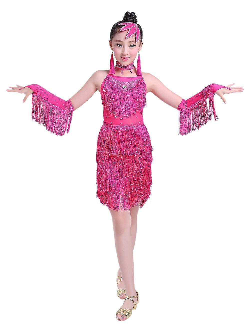 BESBOMIG Tassel Sequins Latin Dance Dress Girls Party Kids Performance Dancewear