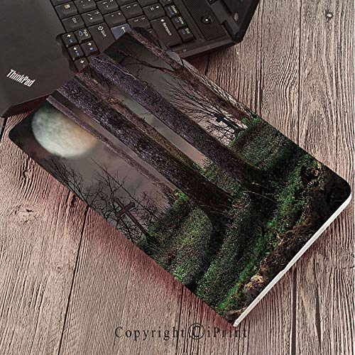 Case for Samsung Galaxy T820 T825 Slim Folding Stand Cover PU Tab S3 9.7,Gothic,Dark Night in The Forest with Full Moon Horror Theme Grunge Style Halloween,Brown Green Yellow]()