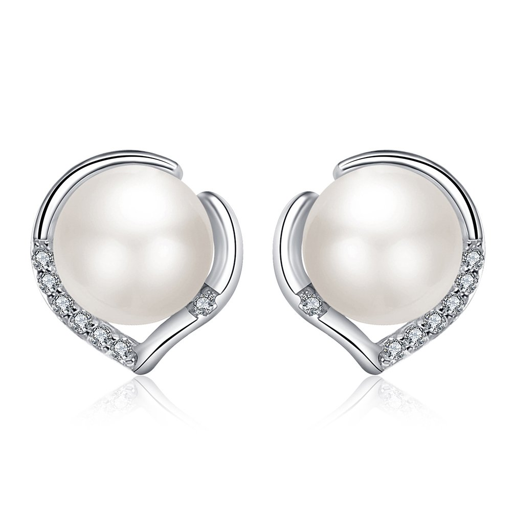 18K Gold Plated Sterling Silver AAA Genuine Freshwater Cultured Pearl White Button Stud Earrings for Women