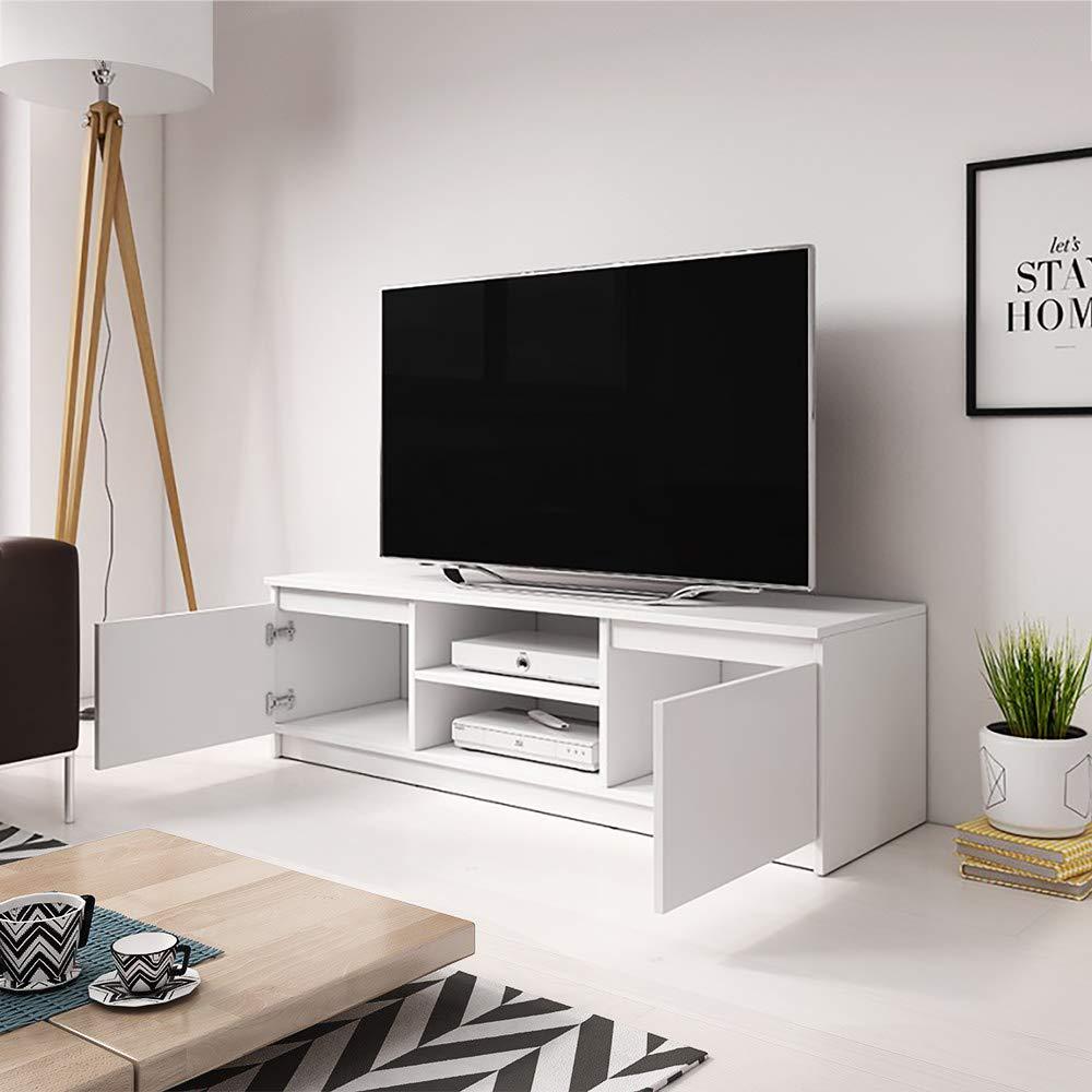 Mobile TV Minimalista// Porta TV Stile Moderno// Tavolino TV per Soggiorno 120 cm// Marrone con Frontali Bianco Opaco// Illuminazione LED Selsey FOX