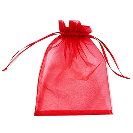 PLECUPE 100 Pcs 25x35cm Bolsas Bolsitas de Organza, Organza de Bodas Regalo de la Joyeria de Caramelo Bolsa - Rojo