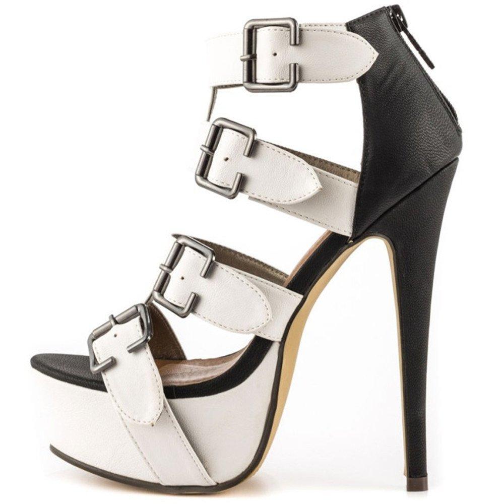 TYAW-Damenschuhe Heels Sandalen Farbe Leder Leder Farbe Hohlen Flachen Mundschwarz b151b8