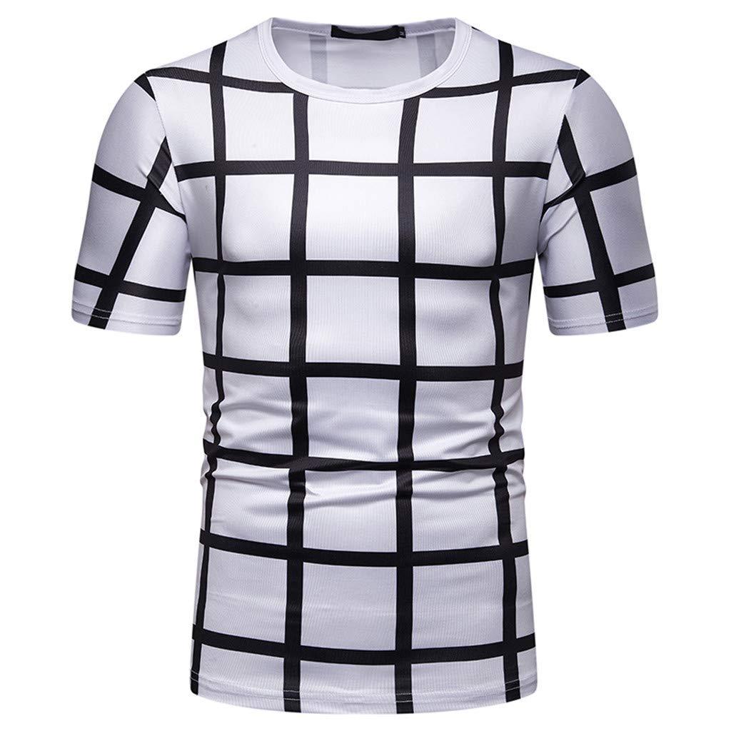 SIRIAY Men Shirts Boy's Sunmer Fashion Plaid Tee Shirt Leaf Short Sleeve Tops Casual Open Shirts White