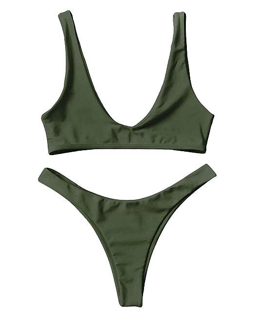 80db6181aba Women Padded Scoop Neck 2 Pieces Push up Swimsuit Thong Bikinis Sets