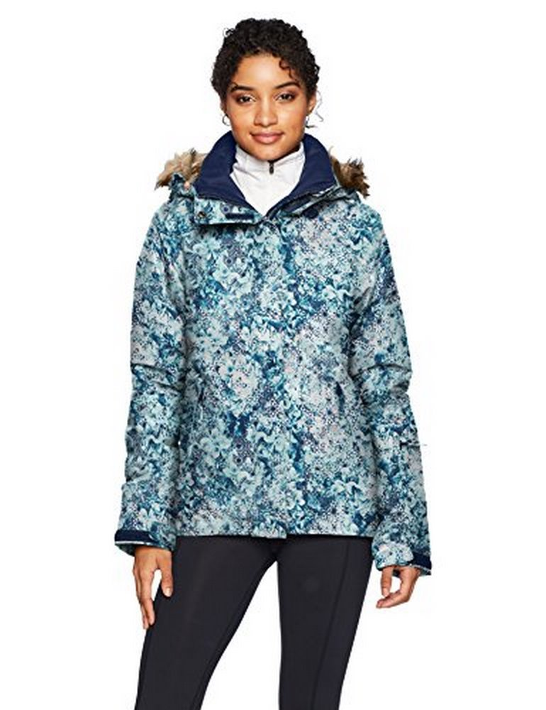 Roxy SNOW Junior's Jet Ski Snow Jacket, Aruba Blue_KALEIDOS Flowers, M