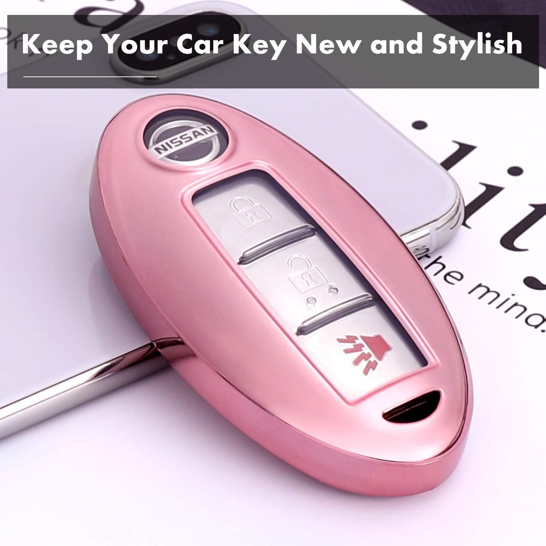Smart Keyless Shell Holder Anti Scratch//Damage//Drop Rose Gold TPU Key Cover Protector for Camry Highlander Rav4 Avalon Corolla Crown Land Cruiser Prado etc Blinkbrione Car Key Fob Cases for Toyota