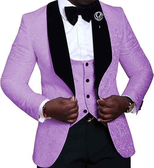 Fitty Lell Mens Suit 3-Piece Bridegroom Tuxedo Slim Fit Best Men Wedding Suit