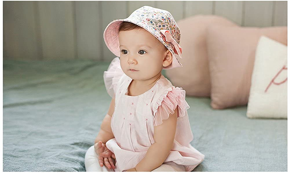 hflzmy Skyflying Spring Summer Baby /& Toddler Brim Sun Protection Hat Small Floral Bowknot Fisherman Sunhat For Both Side Use