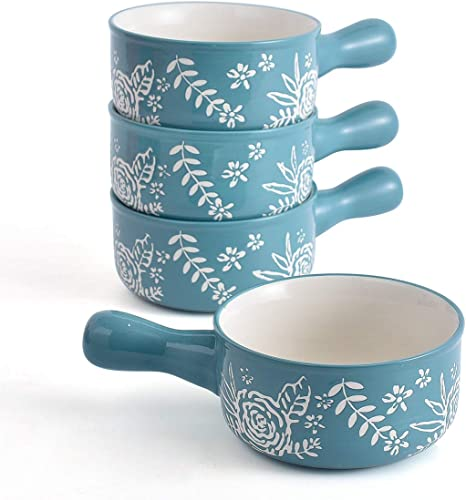 KINGSBULL HOME Soup Bowls Ceramic Soup Bowls with Handles Soup Bowl French Onion Soup Crocks Oven Safe Rose Soup Mug