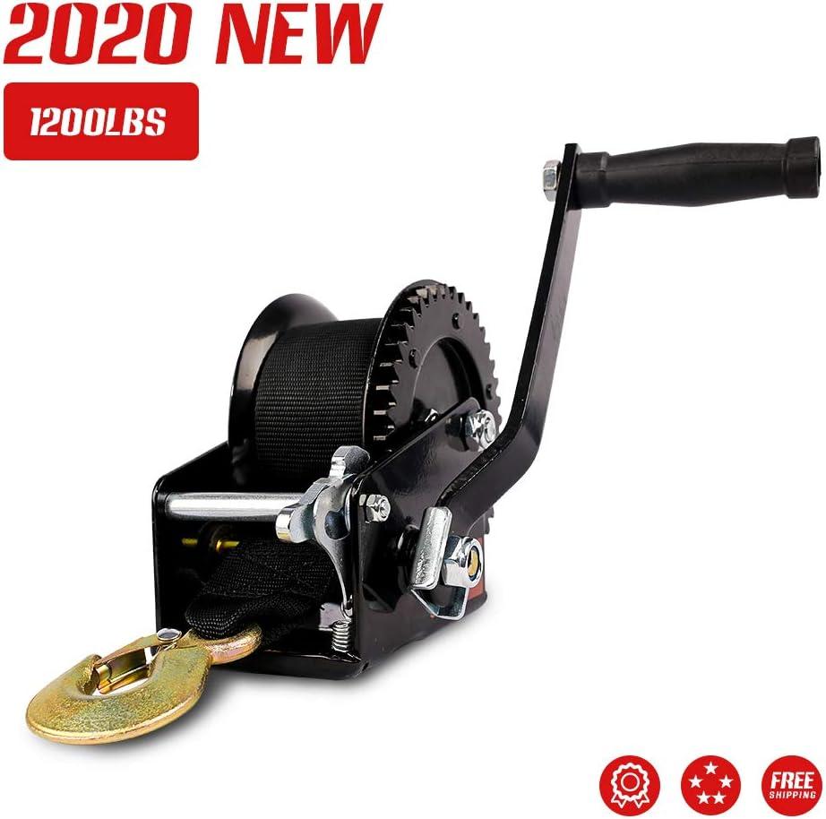 X-BULL 1200lbs Strap and Hook Gear Hand Winch Hand Crank Gear Winch ATV Boat Trailer