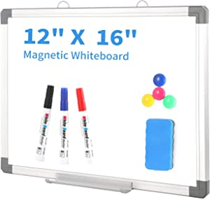 Small Dry Erase White Board - 12 x 16 Inch Magnetic Hanging White Board with Detachable Marker Tray,Memo Board for Wall Kids, Students & Teachers