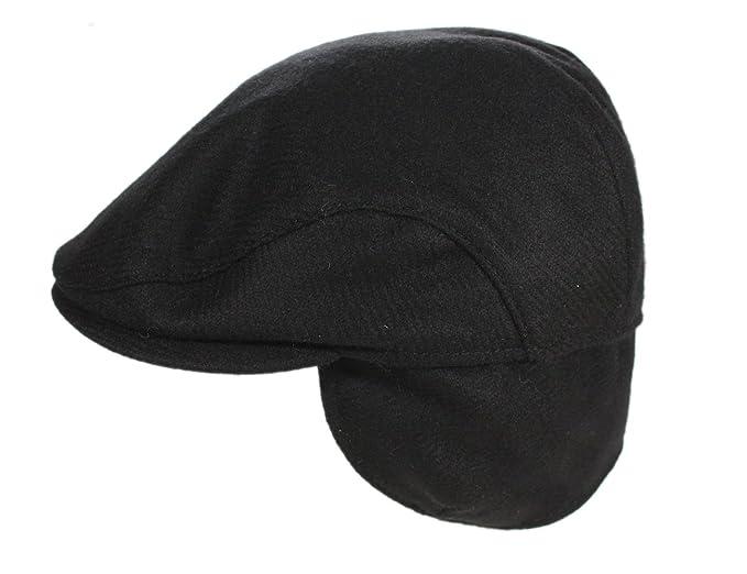John Hanly Men s Irish Flat Cap Tweed Black Ear Flap Quilted Wool Made in  Ireland Small 6c378cfe9ac8