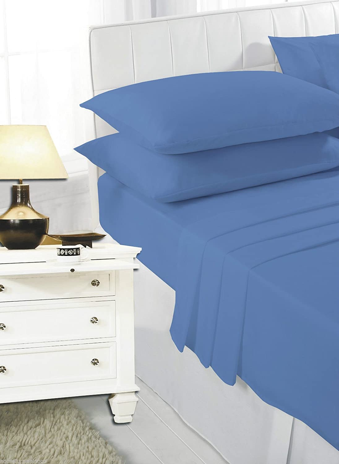 4ft Fitted Sheets Polycotton Bed Sheets 4ft Size Bed Deep Poly Cotton Bedding, Black De Lavish